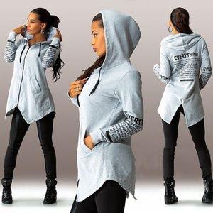 Sweaters - Women Hoodie Sweatshirt Letter Print Zipup